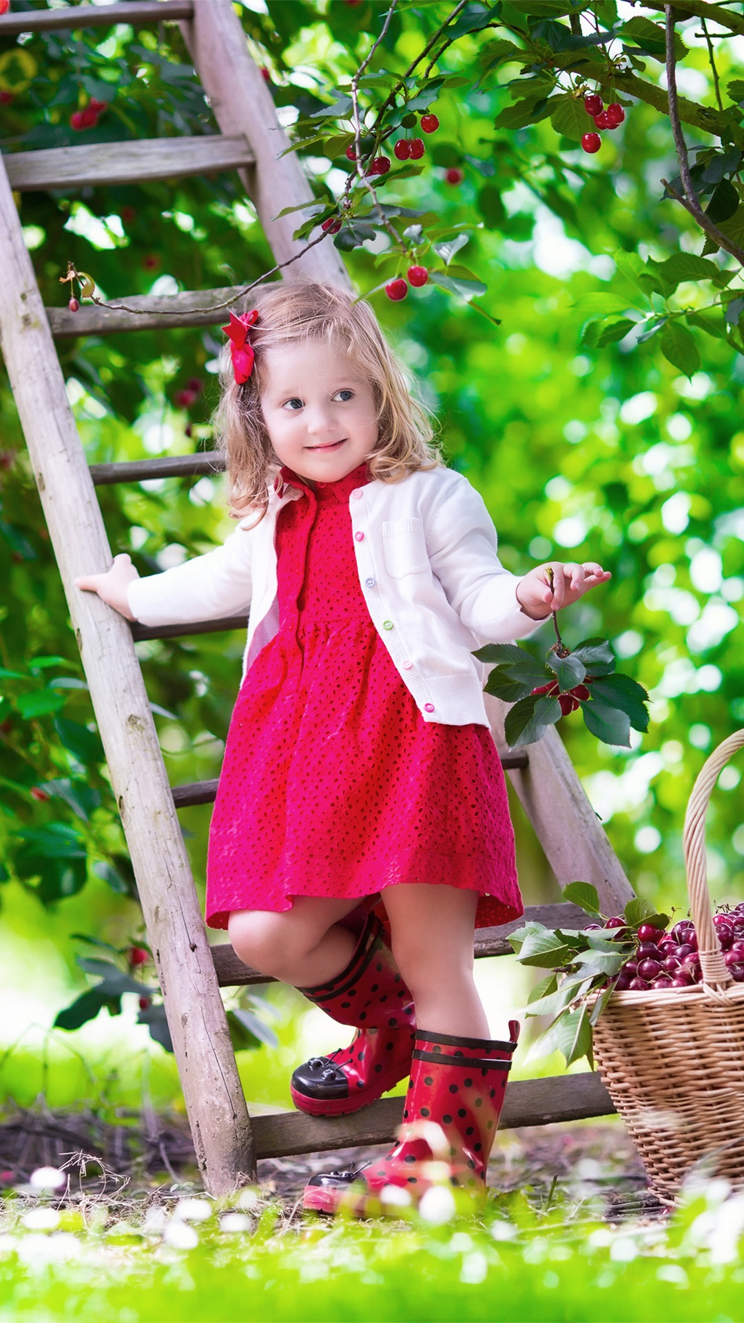 cute baby, girl, red cherry, garden, summer, staircase iphone 8,7,6
