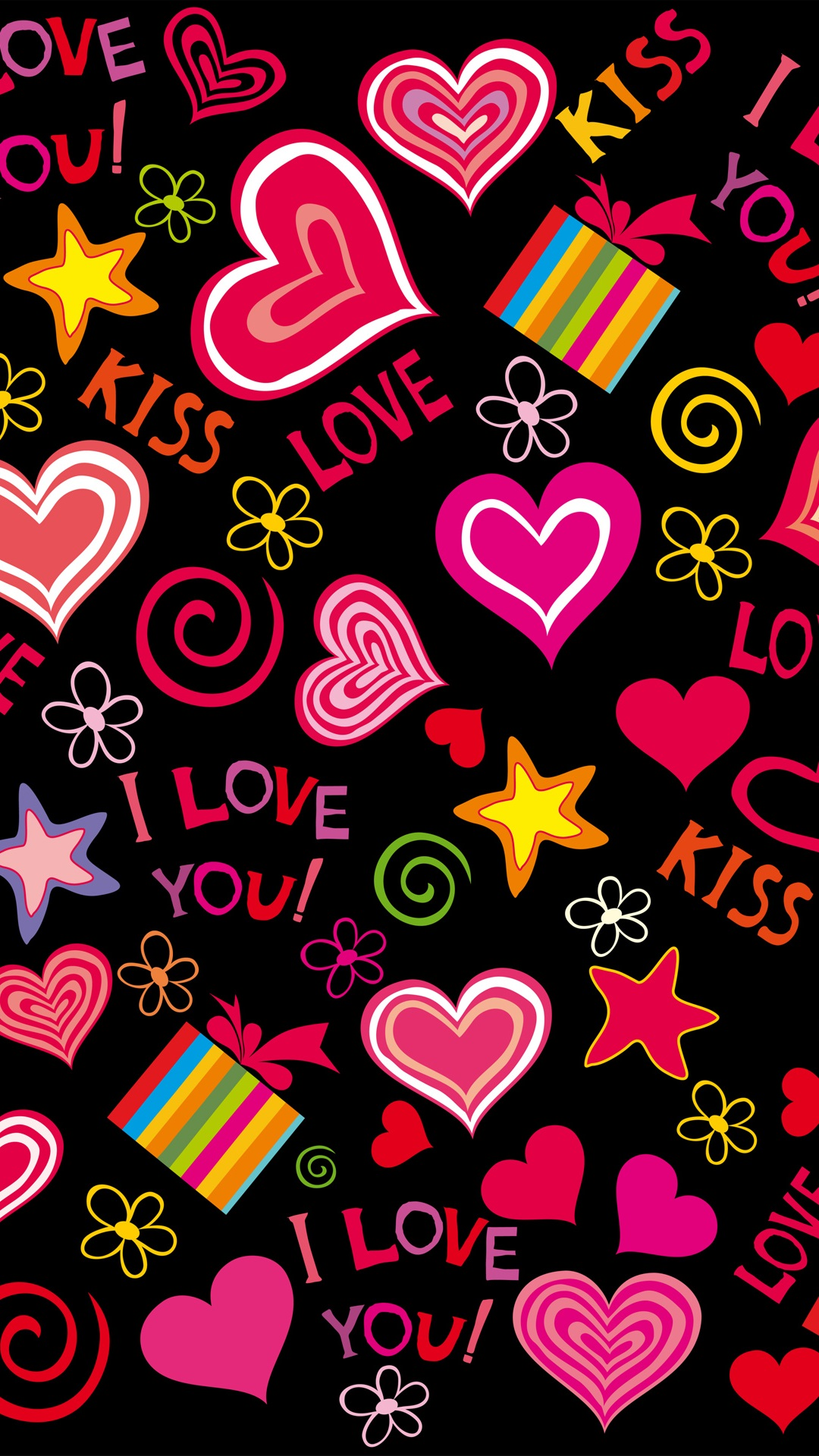 Love Wallpaper For Iphone 3gs : colorful love hearts, sweet, vector, romantic iPhone ...