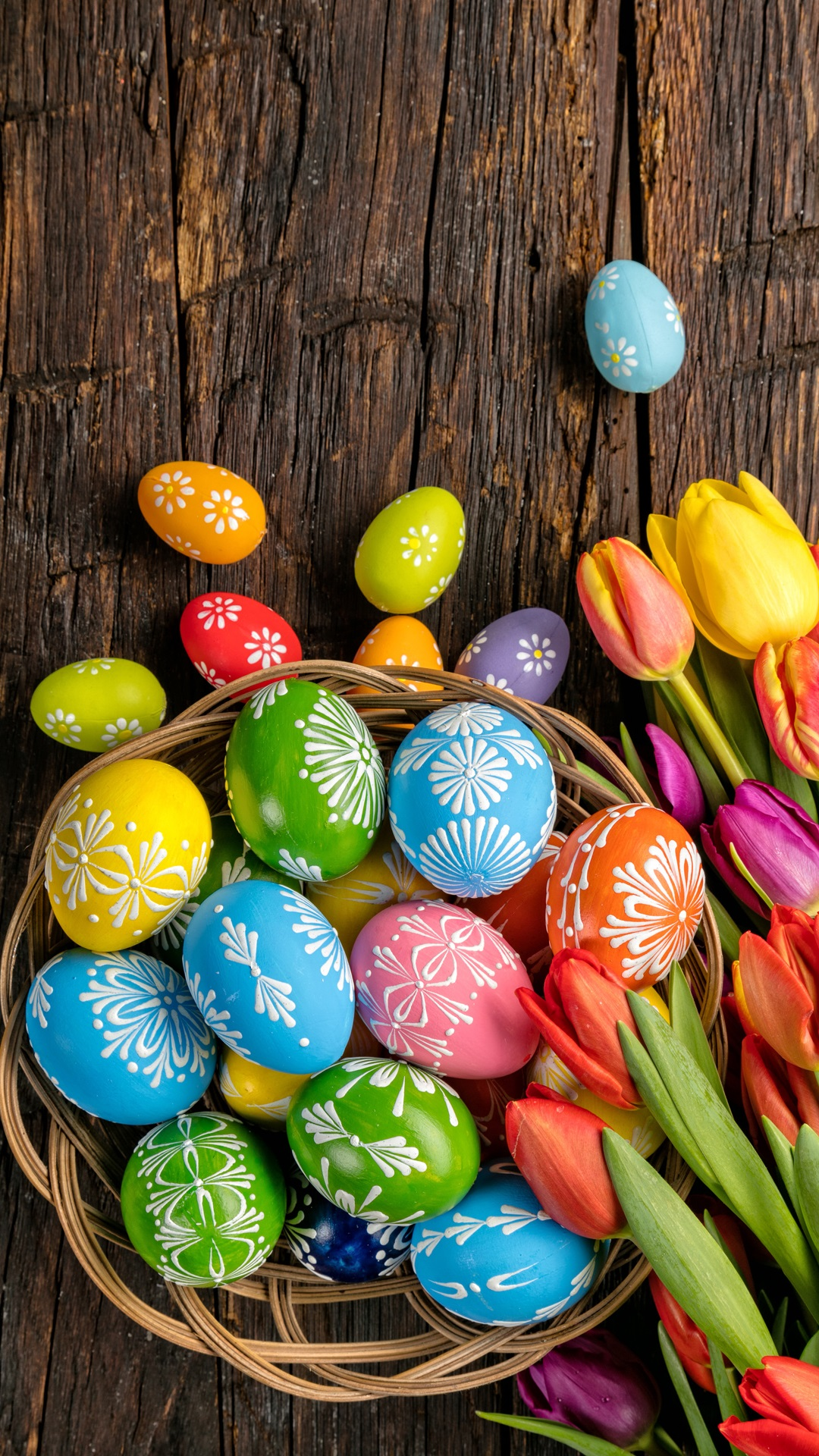 Happy Easter Colorful Eggs Wood Tulips Flowers Spring Iphone X