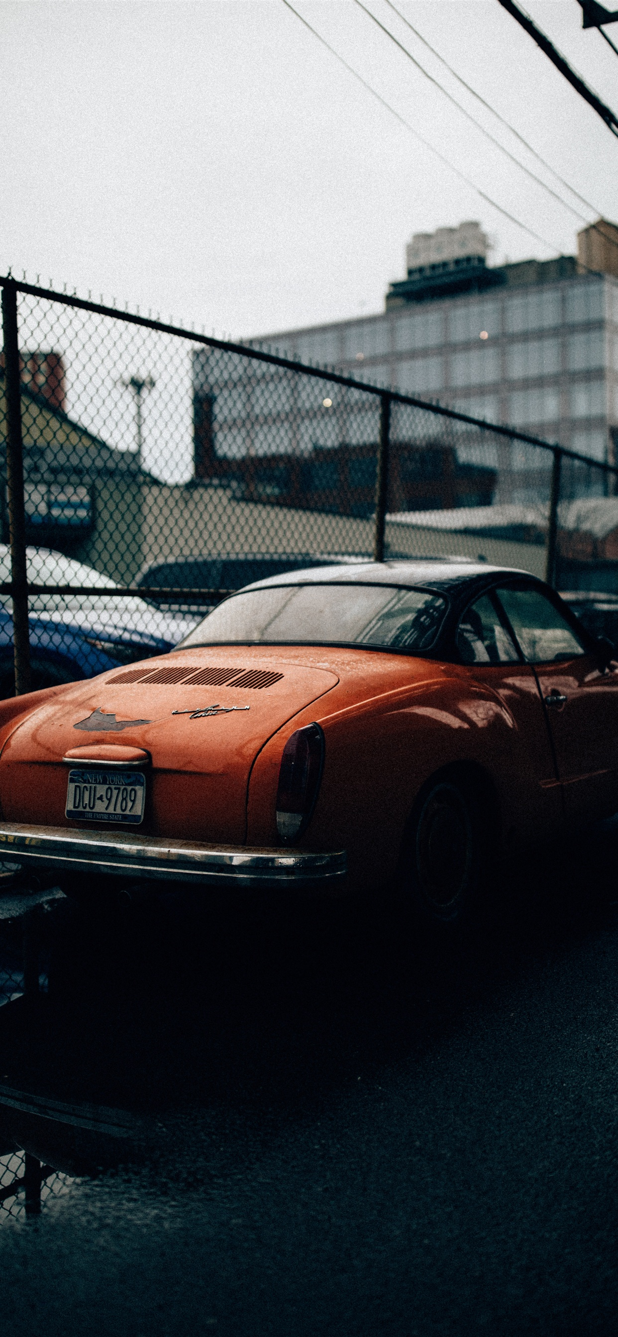 Orange Old Car Fence Iphone Xs Max X 8 7 6 5 4 3gs Wallpaper