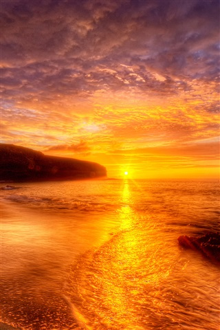 Red sunset beach and sky iPhone X 8,7,6,5,4,3GS wallpaper ...