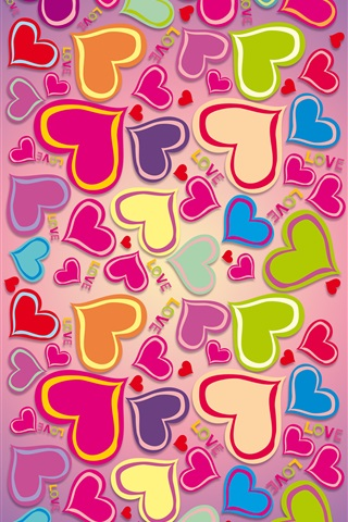 Colorful, rainbow, love hearts iPhone 3GS wallpaper - 320x480