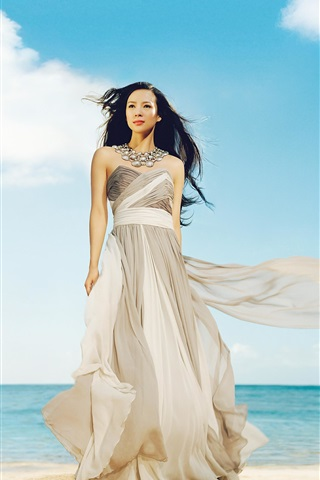 Chinese girl Zhang Ziyi 02 iPhone 3GS wallpaper - 320x480