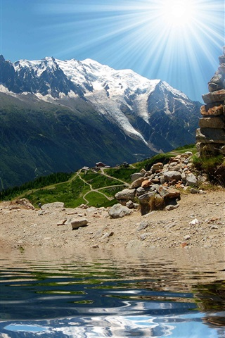 Lake, rocks, mountains, house, sun iPhone 3GS wallpaper - 320x480