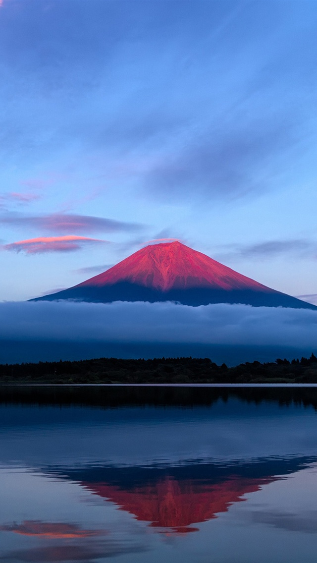Japan Fuji Mountain Evening Sky Lake Reflection Blue