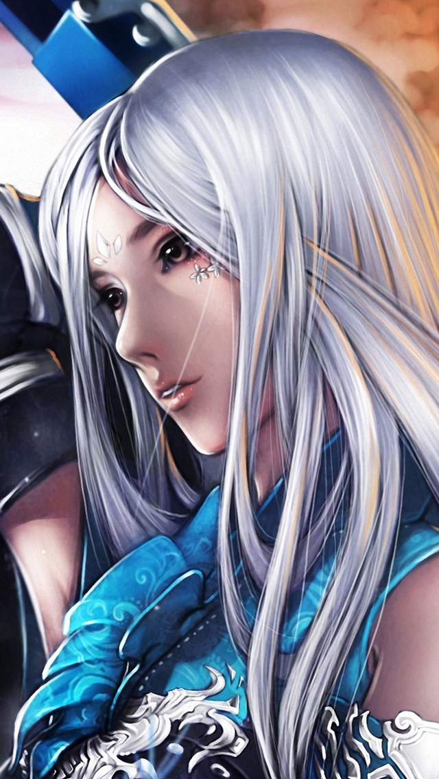 white hair girl  fantasy  sword iphone x 8 7 6 5 4 3gs