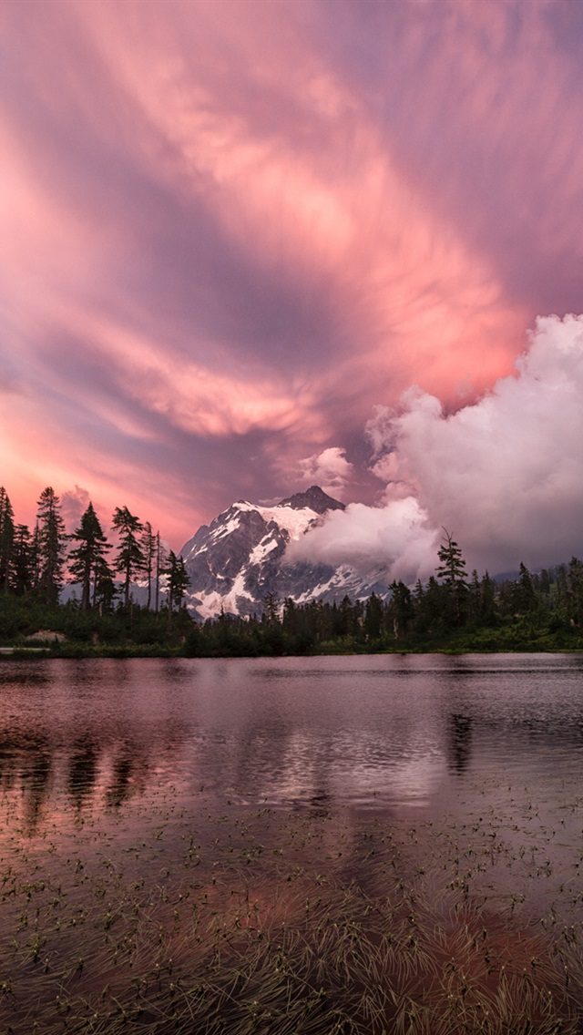 Purple Sky Mountains Clouds Forest Lake Sunset Iphone X 8 7 6 5