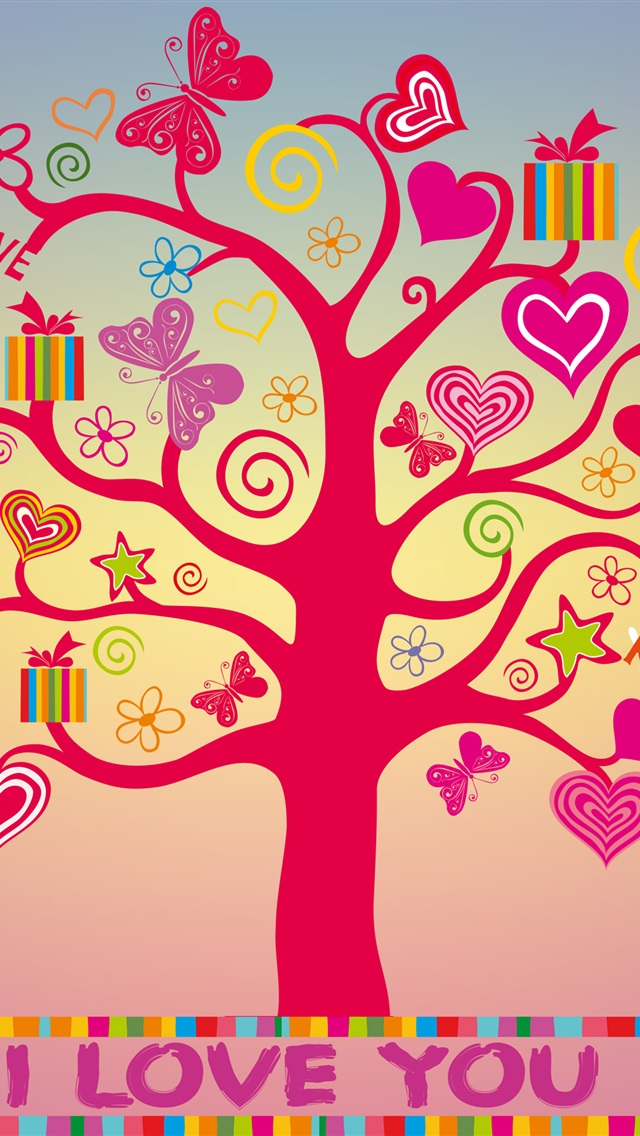 Love Wallpaper For Iphone 5c : I love you, love hearts tree iPhone Wallpaper 640x1136 iPhone 5 (5S) (5c) (SE) wallpaper ...