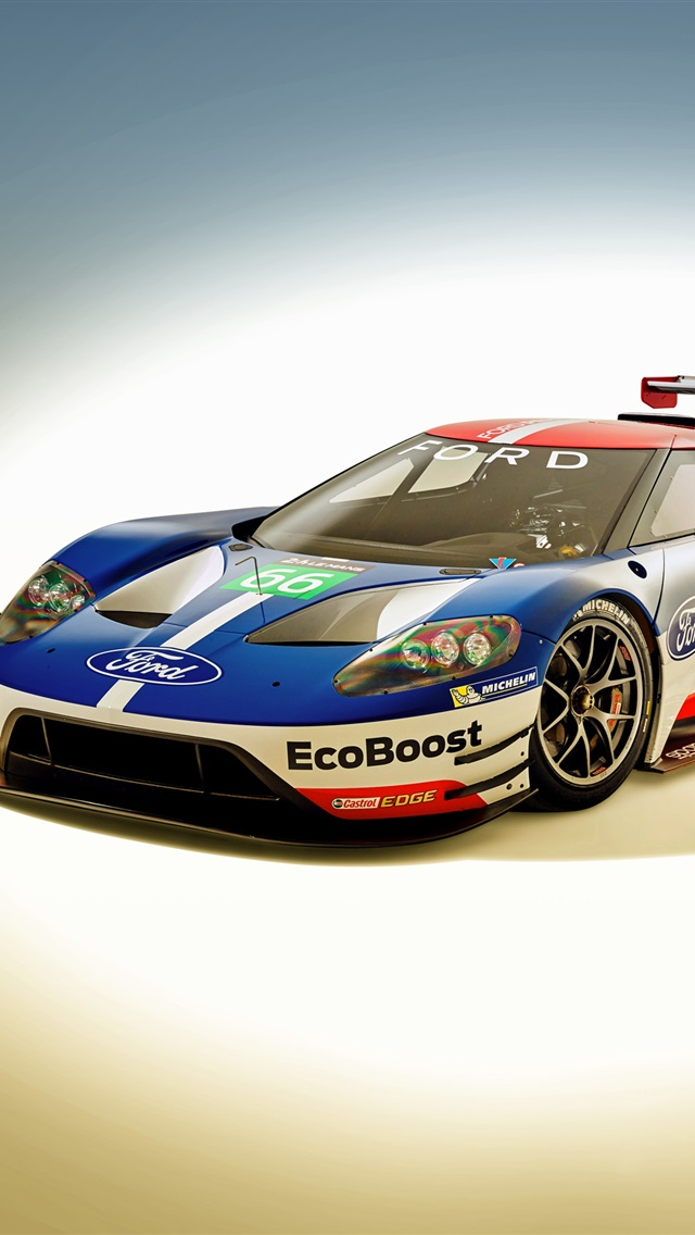 2016 Ford Gt Race Car Iphone X 8 7 6 5 4 3gs Wallpaper