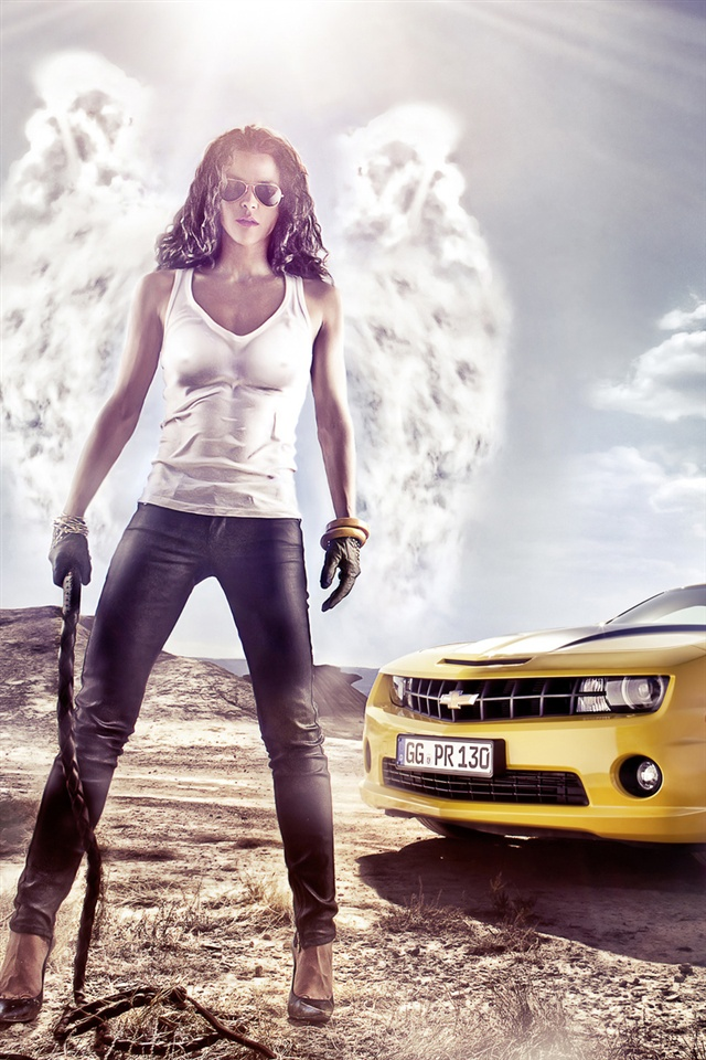 Girl With Chevrolet Car Iphone X 8 7 6 5 4 3gs Wallpaper