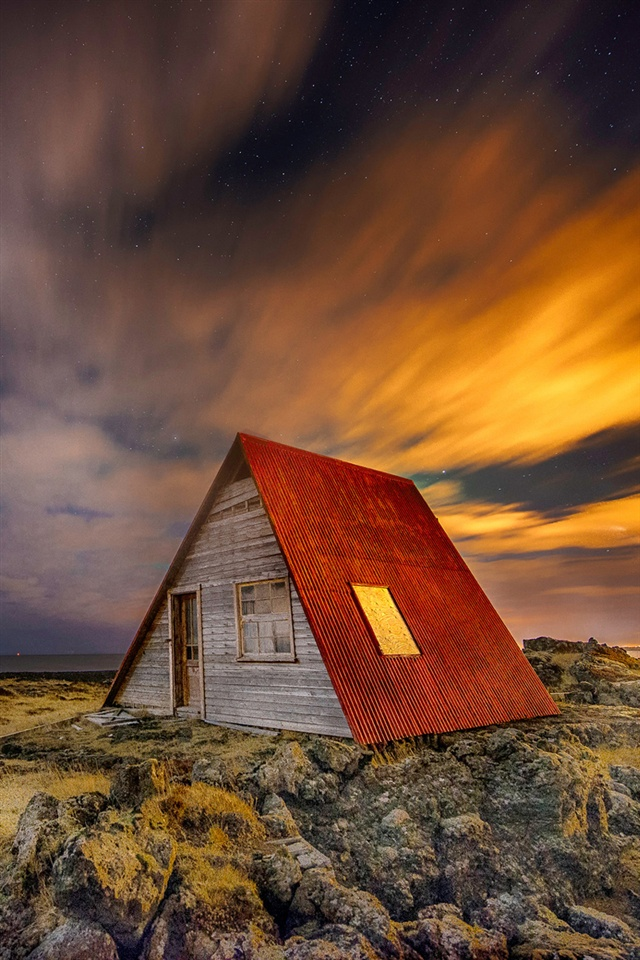 Iceland night scenery house stars iphone x 8 7 6 5 4 3gs - Iceland iphone wallpaper ...