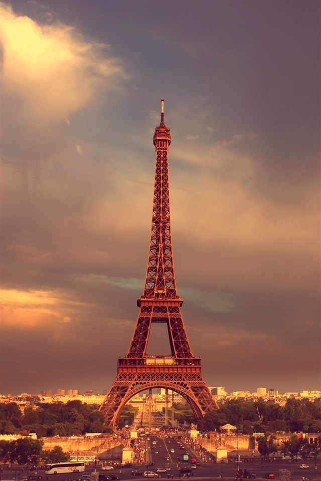 Paris Eiffel Tower Sky Clouds Iphone X 8 7 6 5 4 3gs Wallpaper