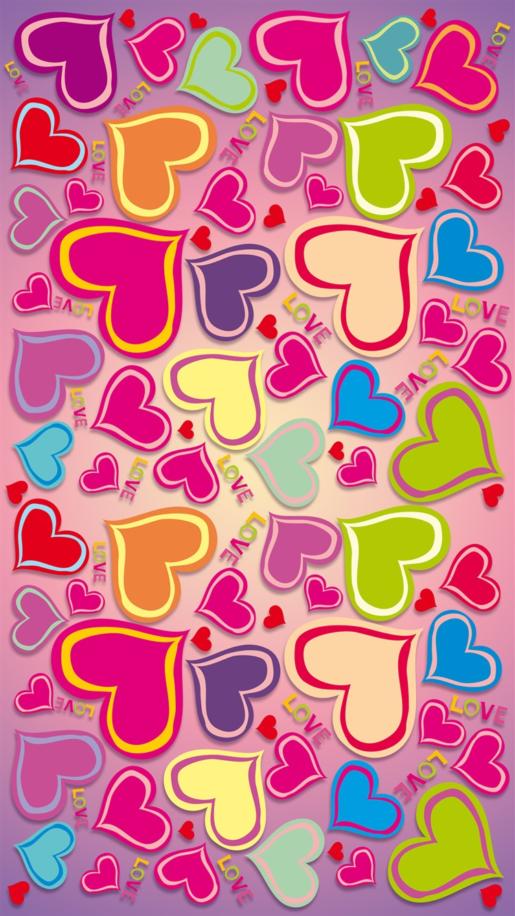 Colorful, rainbow, love hearts iPhone 6 (6S) wallpaper - 750x1334