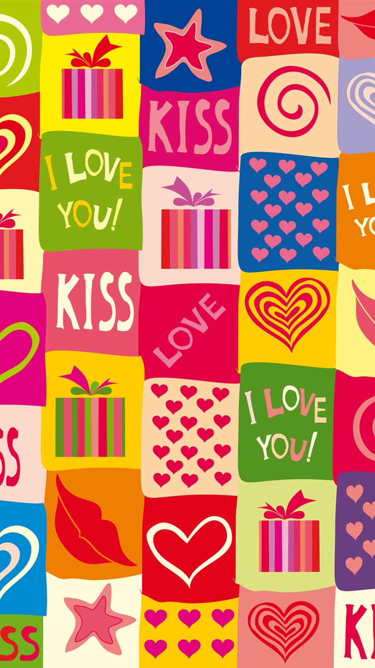 I love you, kiss, romantic, colorful iPhone 6 (6S) wallpaper - 750x1334