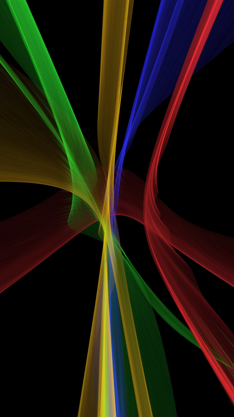 Abstract fractal lines, black background iPhone X 8,7,6,5 ...