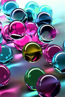 3D colorful glass balls iPhone Wallpaper Preview