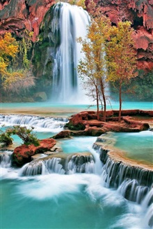 Beautiful autumn waterfall iPhone Wallpaper Preview