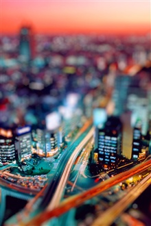 City night tilt shift photography iPhone Wallpaper Preview
