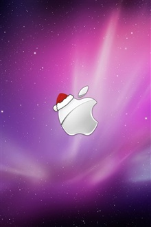 Apple Christmas hat iPhone Wallpaper Preview