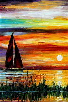 Exquisite painting, sunset sea boat iPhone Wallpaper Preview