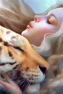 Fantasy girl with tiger iPhone Wallpaper Preview