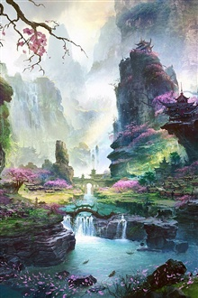Oriental spring landscapes, fantastic world iPhone Wallpaper Preview