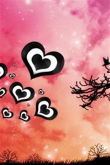 Purple sky, love heart iPhone Wallpaper Preview