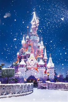 The Disney castle, snow flying iPhone Wallpaper Preview