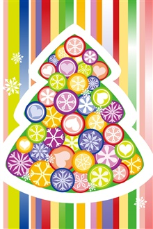 Vector colorful Christmas tree iPhone Wallpaper Preview
