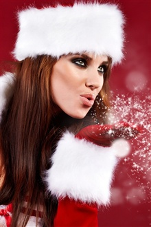 Christmas girl blowing snowflakes iPhone Wallpaper Preview