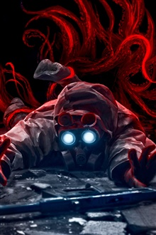 Fantasy art, gas mask man iPhone Wallpaper Preview