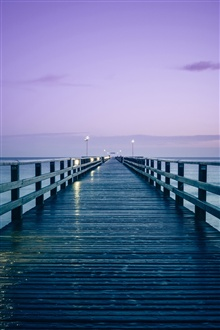 Germany, Baltic sea, pier, morning, wood bridge iPhone Wallpaper Preview