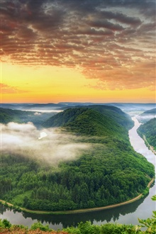 Germany scenery, Saarland, forest, hills, sunrise iPhone Wallpaper Preview