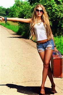 Girl want to hitchhiking iPhone Wallpaper Preview