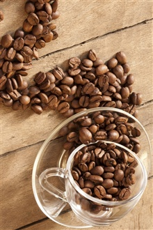 Glass cup, coffee beans iPhone Wallpaper Preview