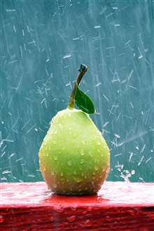Green pear in the rain iPhone Wallpaper Preview