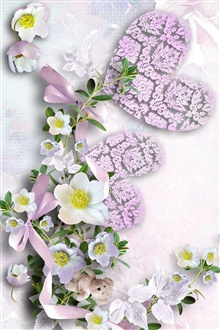 Heart-shaped, flowers, teddy bear iPhone Wallpaper Preview