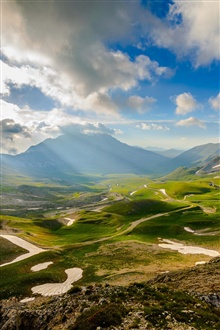 Italy scenery, valley, mountains, sky, clouds iPhone Wallpaper Preview