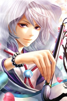 Anime girl, magic pen, cherry blossom iPhone Wallpaper Preview