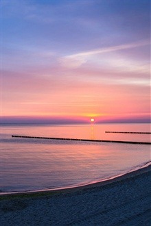Lake, shore, sunset, dusk iPhone Wallpaper Preview