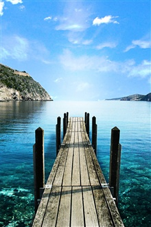 Lake, wooden walkway, blue iPhone Wallpaper Preview