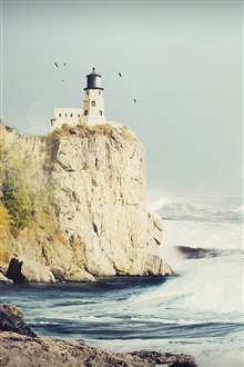 Lighthouse shore sea waves iPhone Wallpaper Preview