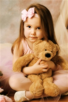Little girl with teddy bear iPhone Wallpaper Preview