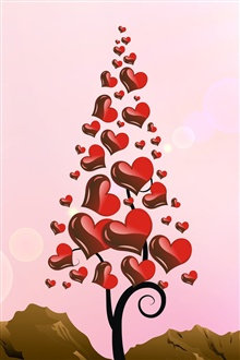 Love hearts tree iPhone Wallpaper Preview
