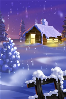 Watercolor, winter, house, snow iPhone Wallpaper Preview