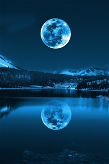 Moon, lake, mountains, cold night iPhone Wallpaper Preview