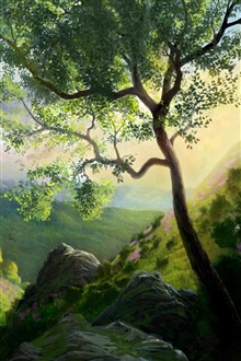 Mountain tree painting iPhone Wallpaper Preview
