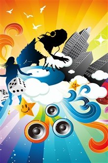Music Colorful dynamic vector iPhone Wallpaper Preview