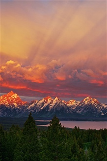 National Park Grand Teton, Wyoming, sunrise, mountains, sky, lake iPhone Wallpaper Preview