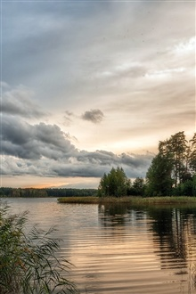 Nature beautiful scenery, lake, water, trees, cloudy sky iPhone Wallpaper Preview